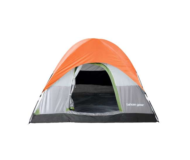 TGT-POWELL-3 Tahoe Gear Powell 3 Person 3 Season Dome Camping Frame Tent, Green and Orange