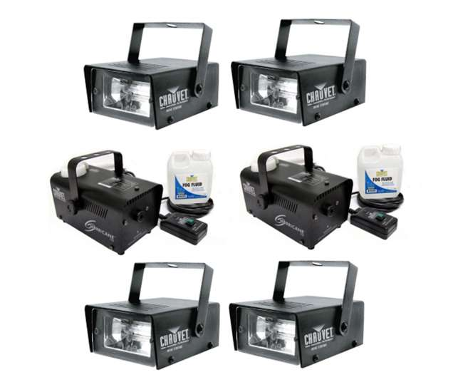 4 x MINISTROBE-LED + 2 x H700 4 Chauvet CH-730 Mini Strobe Lights with H700 Fog Machines (Pair)