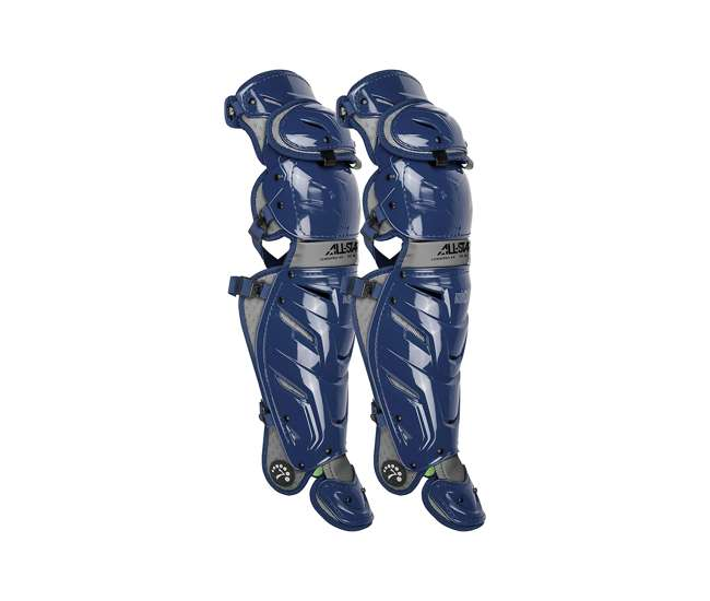 All-Star Sports S7 axe Pro Adulte Baseball Catcher Rembourré Jambe Guards bleu marine//gris