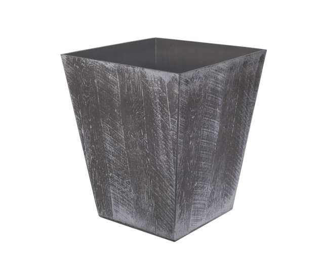 1619GP4 Suncast 16 Inch Farmington Decorative Rustic Wood Finish Garden Planter, Gray