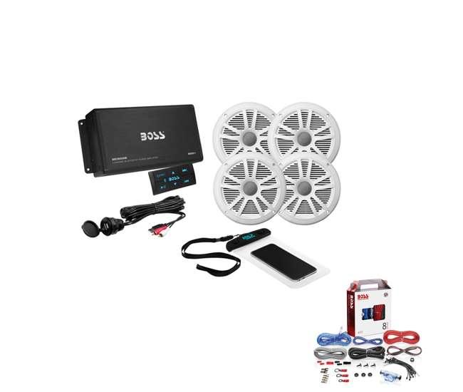 Boss Marine Audio Amplifier & Speakers Bundle With KIT2 Installation Wiring  KitVMInnovations