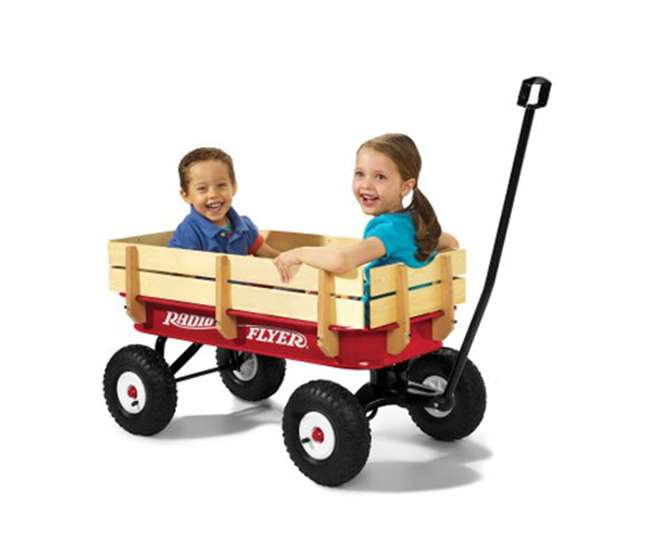 32Z Radio Flyer Full Size All Terrain Classic Steel and Wood Pull Along Wagon, Red