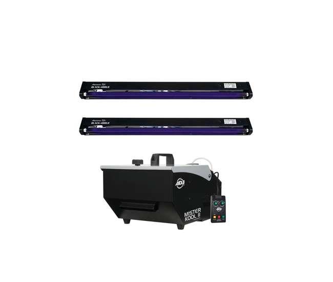 2 Pack Black Light Fixture American DJ Mister Kool II Fog Machine ADJ 48 In