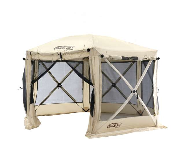 CLAM-PV-114244 CLAM Quick-Set Pavilion 12.5 x 12.5 Foot Portable Outdoor Canopy Shelter, Tan