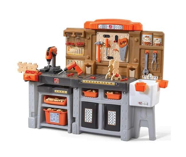 489099 Step2 Kids Toy Pro Play Workshop and Utility Bench with Accessories, Orange