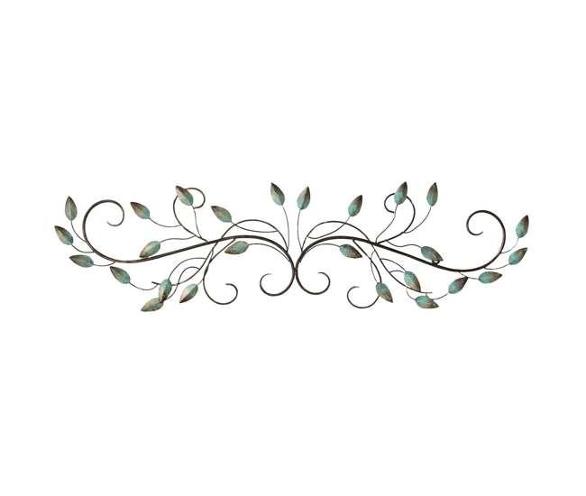 Stratton Home Decor Patina Scroll Leaf 40x10 Inch Metal Wall Art Room Decoration Shd0065