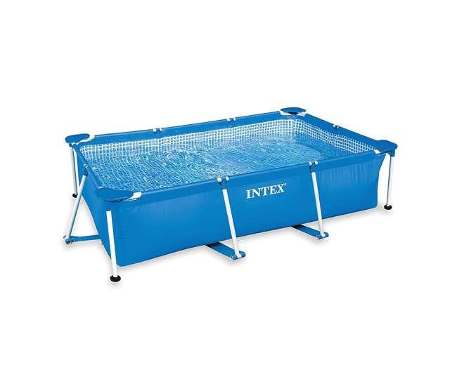 28271EH Intex 8.5ft x 26in Rectangular Frame Above Ground Backyard Swimming Pool, Blue