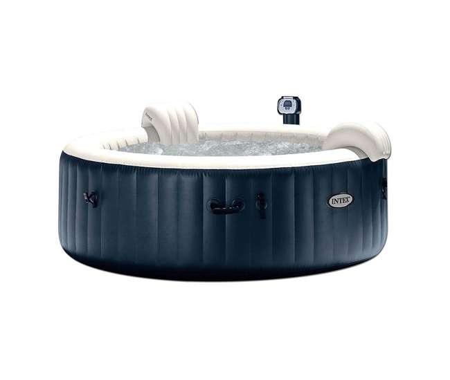 28409E Intex PureSpa 6 Person Portable Inflatable Round Hot Tub Jet Spa w/ Cover, Blue