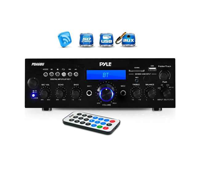 PDA6BU Pyle PDA6BU 200W Bluetooth LCD Home Stereo Amplifier Receiver w/ Remote & FM