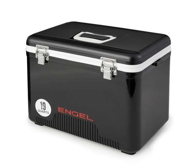 UC19-BLK Engel 19 Quart Fishing Live Bait Dry Box Ice Cooler with Shoulder Strap, Black