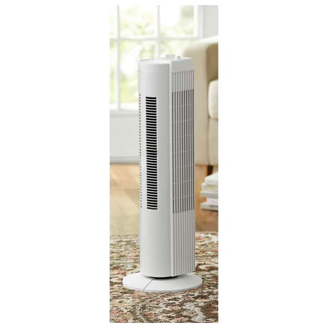 FZ10-19MW Mainstays FZ10-19MW 28 Inch Tall 3 Speed Compact Oscillating Tower Fan, White 1