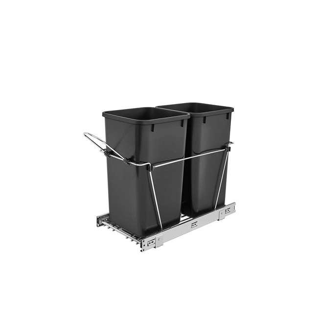 RV-15KD-18C S-U-B Rev-A-Shelf S Double 27 Quart Pullout Waste Bin Container, Black  (Used) (2 Pack)