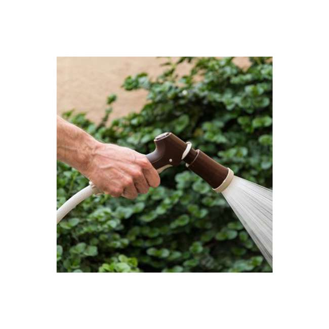 588518 IRIS USA 98.42 Foot Portable Hose Reel Caddy with Nozzle, Brown 2