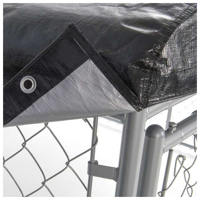 CL-61528EZ + CL-00303 Lucky Dog 10 x 10' Outdoor Dog Kennel & Waterproof Roof Cover 7
