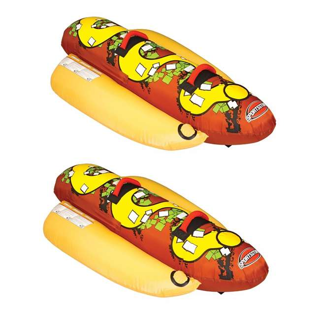 53-3055 Sportsstuff Hot Dog 2 Person Towable Tube (2 Pack)