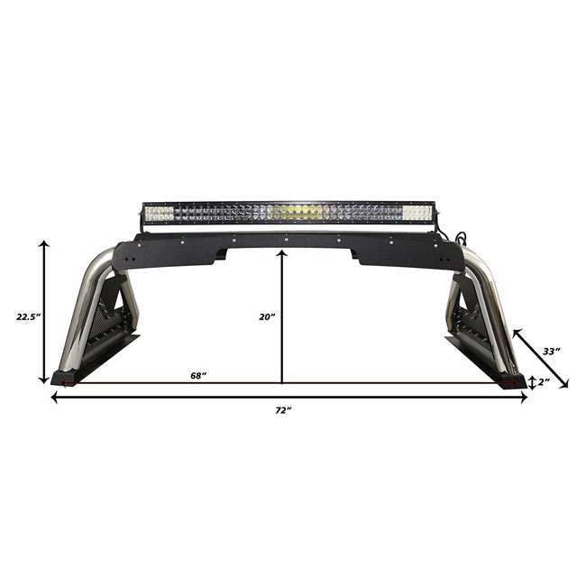 911000PS Go Rhino Universal Stainless Steel Mounted Lighting Sport Bar 2.0 1