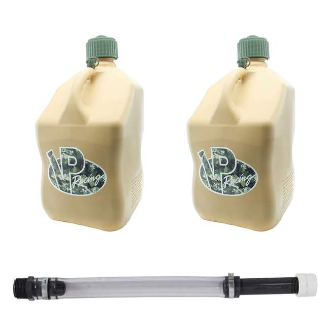 VP-4042 + 3044B VP Racing 5 Gallon Motorsport Racing Fuel Gas Can (2 Pack) w/ 14 Inch Hose Kit