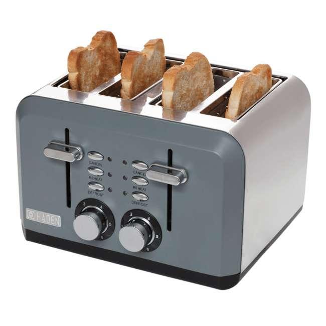 75007 Haden Perth Wide Slot Stainless Steel Body Retro 4 Slice Toaster, Slate Gray 1