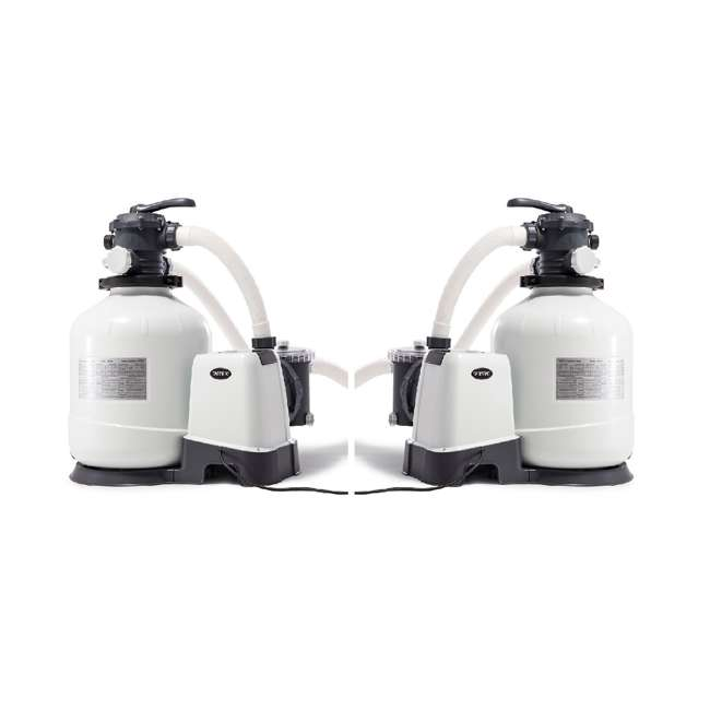 26651EG Intex 3000 GPH Above Ground Pool Sand Filter Pump with Automatic Timer (2 Pack)