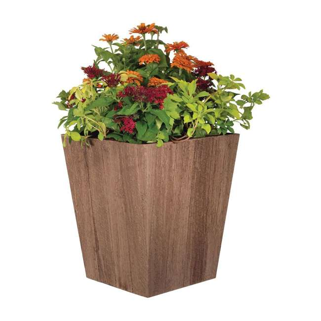 4 x 1619BP4 Suncast 16 Inch Farmington Rustic Wood Finish Garden Planter, Brown (4 Pack) 2