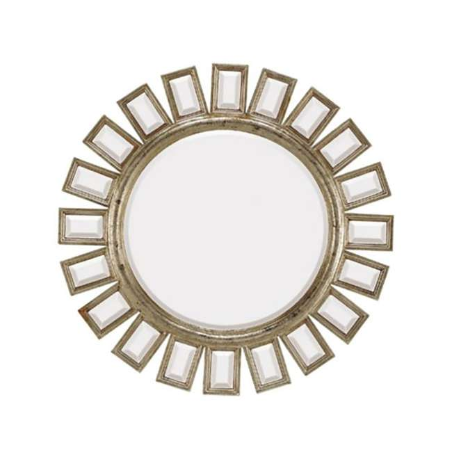 1427-B Majestic Mirror Contemporary Round Silver Beveled Mirror