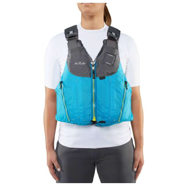 40073.01.103 NRS Womens Nora Type III Fishing Life Jacket Vest PFD w/ Pockets, Large/XL, Teal 3