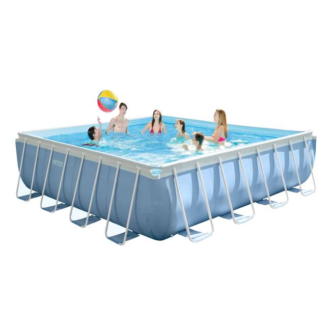 """26765EH + QLC-42003 Intex 16' x 48"""" Prism Frame Above Ground Pool w/ Pump & Cleaning Kit 5"""
