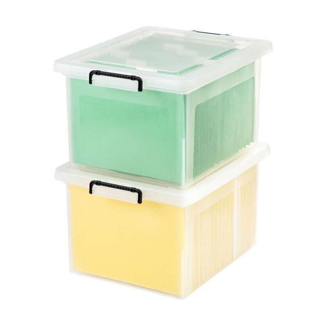 585950-6PK IRIS USA Letter and Legal Size File Box Storage Container with Buckle, Clear 4