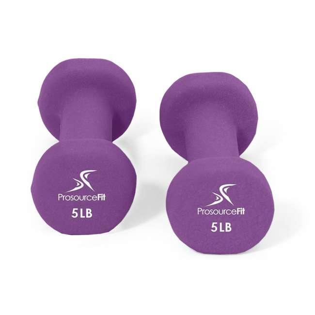 ps-1142-neo-purple ProsourceFit 5 Pound Iron Neoprene Coated Non Slip Dumbbell Weight Set, Purple 1