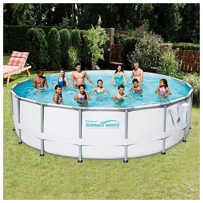 Summer Waves Elite 16 Foot Frame Pool Set With Sfx1500