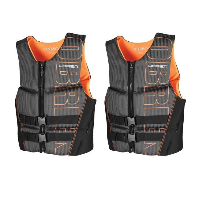 2161736-MW OBrien BioLite Series Men's Flex V Back Life Vest Size L, Black/Orange (2 Pack)
