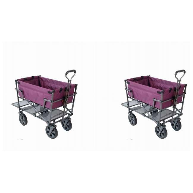 MAC-DD-109-PURPLE Mac Sports Double-Decker Yard Cart Wagon, Purple (2 Pack)