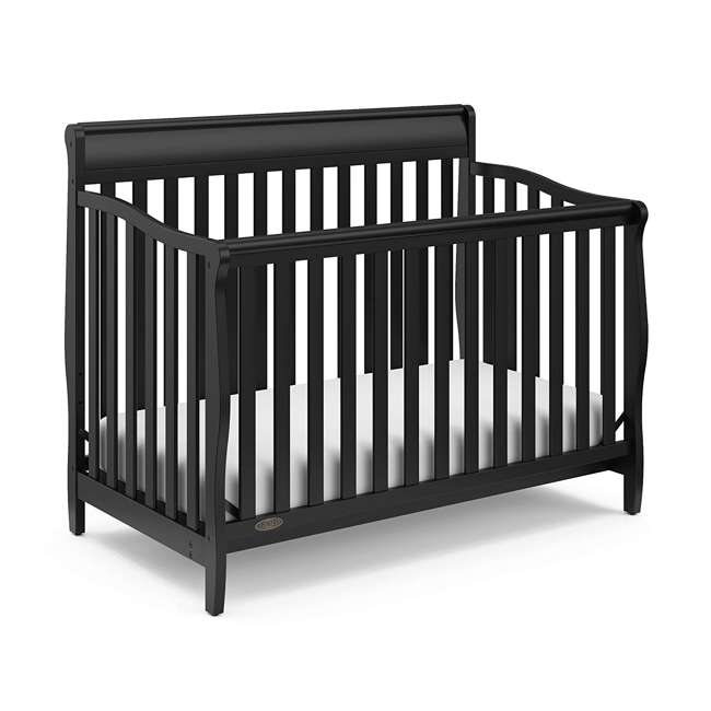 04530-66B + 06711-300 Graco Stanton 4-in-1 Convertible Crib in Black w/ Foam Mattress 1
