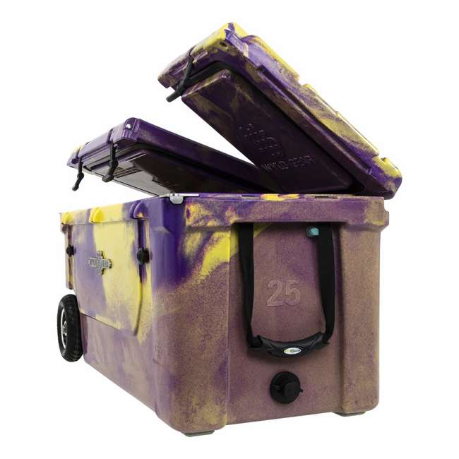 HC75-17PG WYLD 75 Quart Pioneer Dual Compartment Insulated Cooler w/ Wheels, Purple/Gold 1