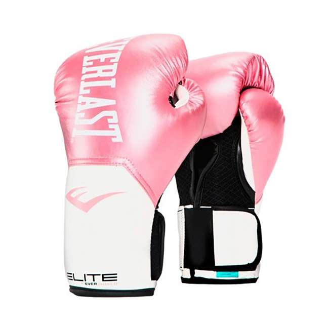 P00001196-U-A Everlast Elite Pro Style Leather Boxing Gloves Size 12 Oz, Pink (Open Box)
