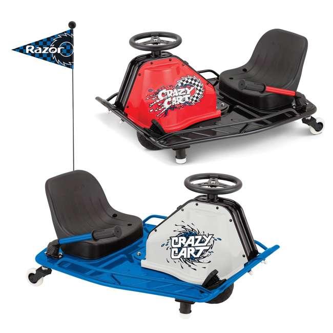 25143442 + 20143460 Razor High Torque Motorized Drifting Crazy Cart w/ Drift Bar, Blue/Red (2 Pack)