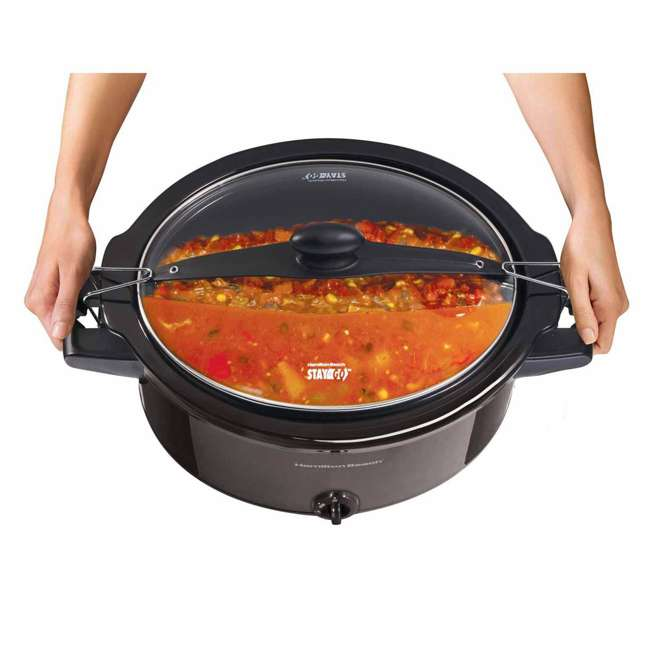33261 Hamilton Beach 33261 Stay or Go 6 Quart Oval Slow Cooker with Handles, Black 4