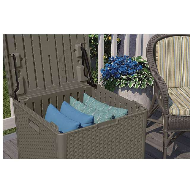 4 x SS601ST Suncast 22 Gallon Small Resin Patio Storage Deck Box and Seat, Stoney (4 Pack) 3