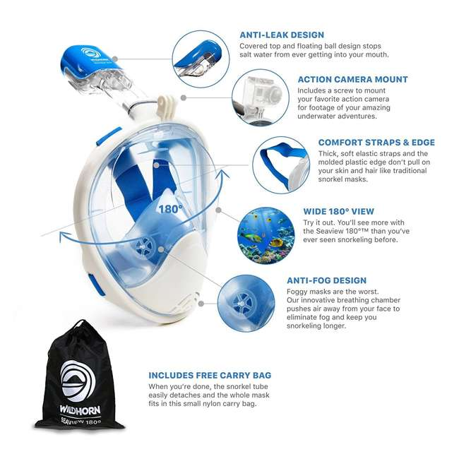 10 x SEAVIEW-SM-BLUE Wildhorn Seaview 180-Degree Small/Med. Full Face Snorkel Mask, Blue (10 Pack) 4