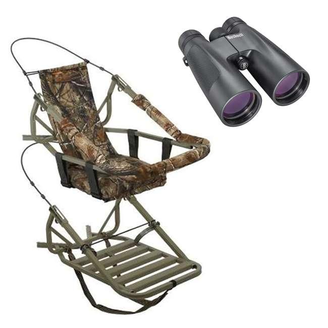 81052-VIPCLASSIC + BSHN-151050 Summit Viper Classic Treestand & Bushnell Powerview Binoculars, Black