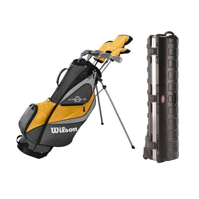 WGGC4370L + 2SKB-1649W Wilson Men's Golf Club Stand Bag Set & Wheeled Travel Case