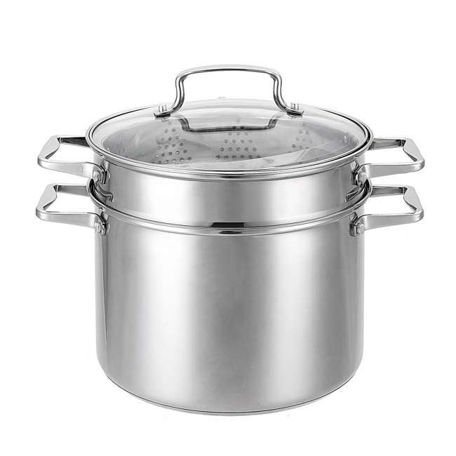 HBO601 + HBL101 Hamilton Beach 8.5 Quart 4 Piece Stock Pot Set + 2.5 Quart Sauce Pan & Lid 3