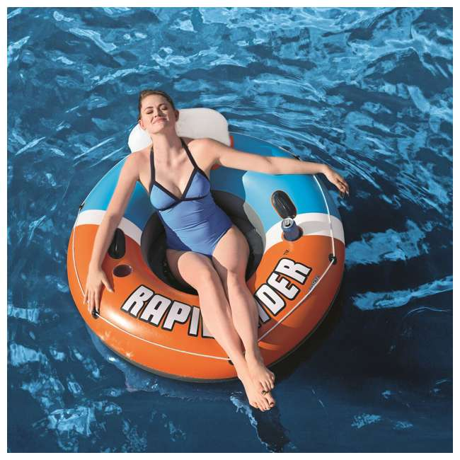 3 x 43116E-BW-NEW-U-A Bestway CoolerZ Rapid Rider Inflatable River Float, Orange  (Open Box) (3 Pack) 4