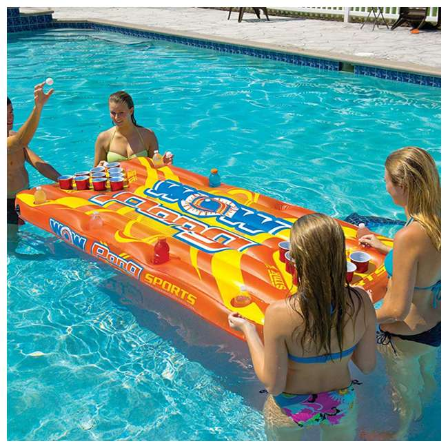 """15-2020 WOW Watersports Durable 16"""" Inflatable Pool Floating Water Pong Table Game, Red 3"""