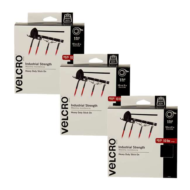 3 x 90943 Velcro USA Industrial Strength Indoor & Outdoor Adhesive Fastener, 10-Foot Roll (3 Pack)