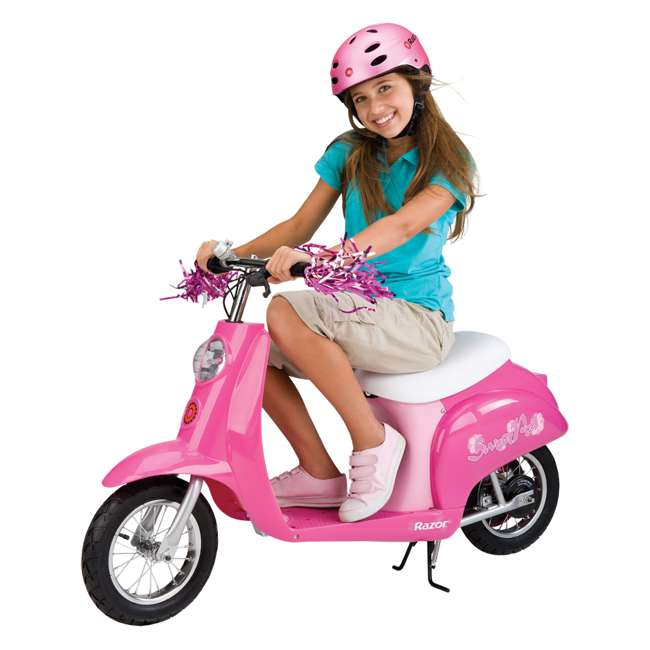 15130659 + 97783 + 96785 Razor Pocket Mod Electric Sweet Pea Scooter with Helmet, Elbow & Knee Pads 1