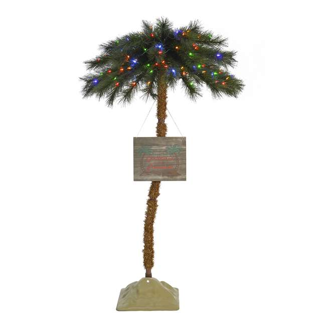 TG50ON041P03 Home Heritage 5 Foot Christmas Fake Palm Tree Prelit with Multi Color LED Lights 2