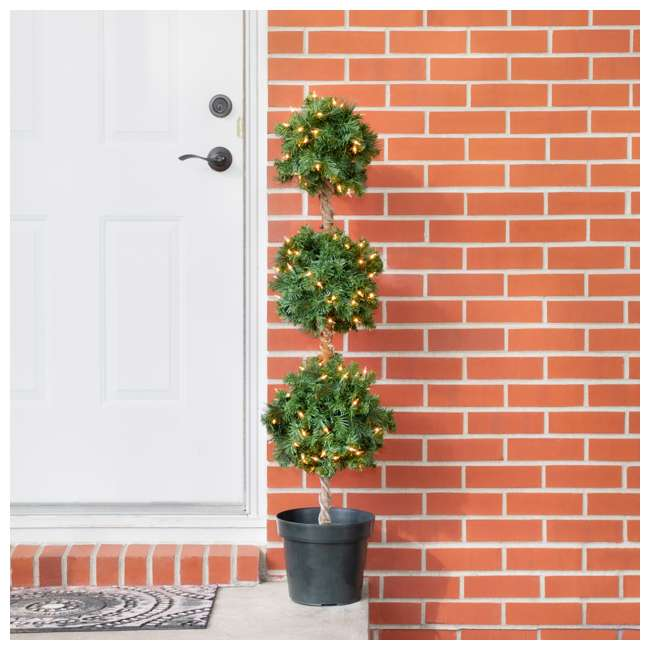 TP40M2W72C09 Home Heritage 4 Foot Artificial Topiary Tree w/ Clear Lights for Entryway Decor 3