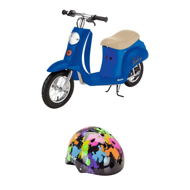 15130641 + 97913 Razor Pocket Mod Miniature Electric Retro Scooter + Youth Multi Sport Helmet
