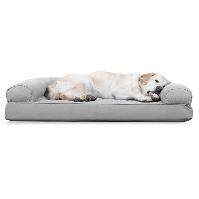85501017BX Furhaven Cooling Gel Memory Foam Quilted Couch Pet Dog Bed, Silver Gray, Jumbo 1